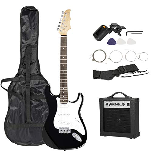 Smartxchoices 39″ Full Size Black Electric Guitar for Beginner Starter with 15W Amp, Tuner, Carry Case and Accessories Pack