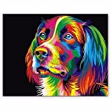 Multicolored Blusher Outfit - 50x40cm Colorful Puppy Dog Little Animal Pet Diy Self Handicraft Paint Kit Decor Wood Framed - Blackened Showy Flashy Flamboyant Rouge - 1PCs