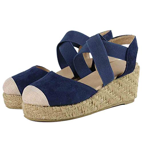 ◕‿◕Water◕‿◕ Women Wedges Round Toe Sandals,Summer Elastic Band Ankle Strap Round Closed Toe Espadrilles Wedges Espadrilles ()
