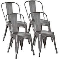 JUMMICO Metal Chair Stackable Kitchen Dining Chair...