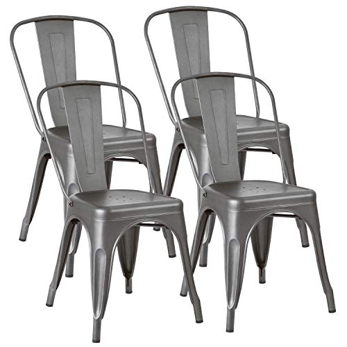 JUMMICO Metal Dining Chair Stackable Indoor-Outdoor Industrial Vintage Chairs Bistro Kitchen Cafe Side Chairs with Back Set of 4 (Grey)