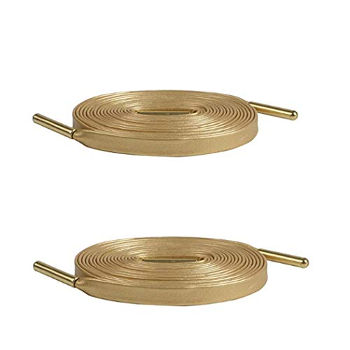 Gold Shoelaces (2PCS ZYL Men Women Shoe Laces Premium Synthetic Leather Shoelaces with Gold Aglet for Sport shoes Boots & Sneakers Sheepskin Leather Casual Shoelaces for Leather Shoes 120cm)