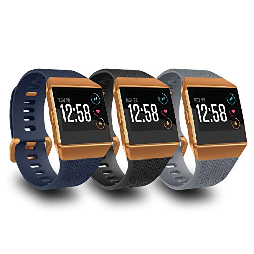 Orange Accessory - AIUNIT Compatible Fit bit Ionic Bands for Men Women Teens Kids Small with Burnt Orange Buckle, Replacement Strap Sport Accessory Wristband for Fit bit Ionic Smart Watch Black Navy Brown