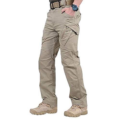 Men Work Cargo Long Pants - 2019 New Waterproof Men Military Pants with Pockets Loose Trousers Khaki