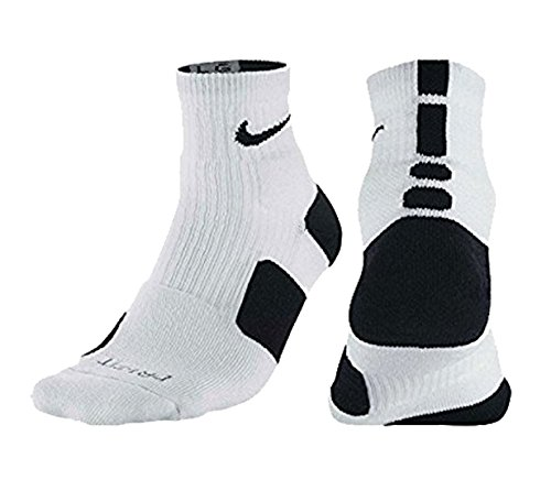 Nike Elite High Quarter Basketball Socks (White/Black, Small)