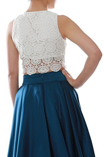 MACloth Women Two Piece O Neck Lace Long Prom Homecoming Dress Evening Ball Gown Marrón