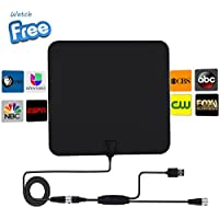 TV Antenna, TV Antenna for Digital TV Indoor 50 Mile Range, with Detachable Amplifier Signal Booster, HYONE 2018 Upgraded for Better Signal Reception