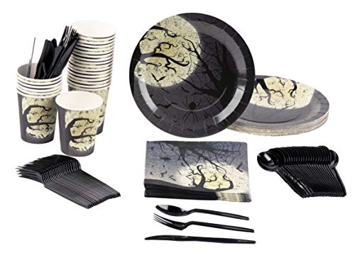 (Disposable Dinnerware Set - Serves 24 - Halloween Party Supplies with Moon and Bats Design - Includes Plastic Knives, Spoons, Forks, Paper Plates, Napkins,)