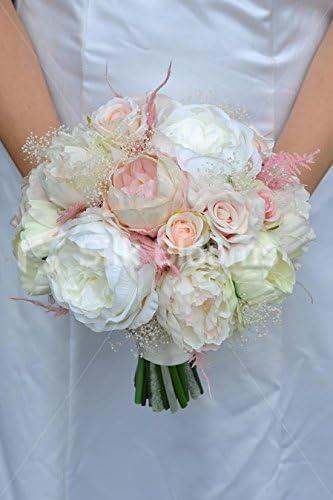 Peonie Bouquet Da Sposa.Amazon Com Gorgeous Artificial Pink Fresh Touch Peony Bridal