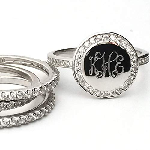 - CZ Monogram Sterling Silver Rings with Stackable Bands available in Silver, Gold Plate or Rose Gold Plate