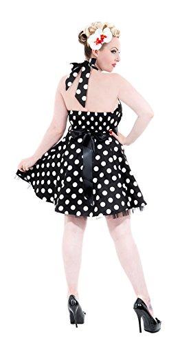 Damen Dots amp; Petticoatkleid Schwarz Punkte Roses Classy Kleid weißen mit Hearts EvBYOZqWZ