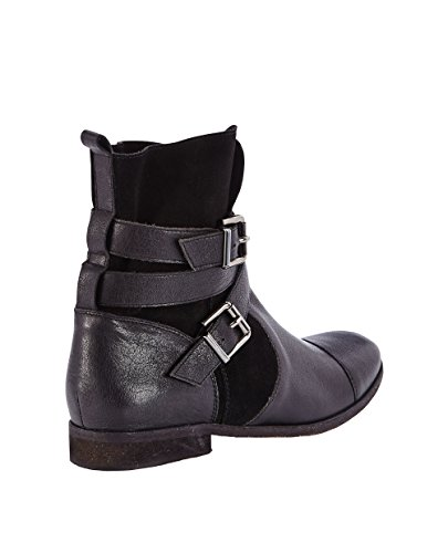 Dune Poot Leather and Suede Buckle Boots in Black Size 4 qPtEpzOBX4