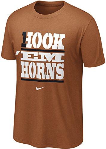 NIKE Texas Longhorns Hook 'Em Horns My School #1 Local T-Shirt (2XL, Dark Orange)