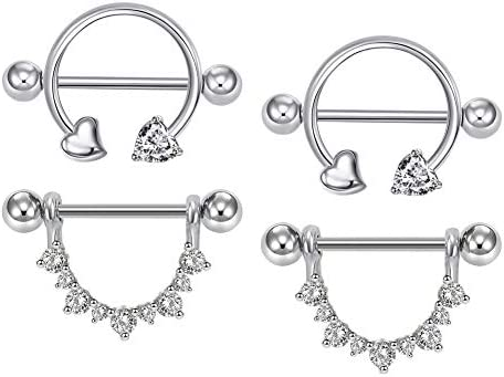 AVYRING 14G CZ Inlaid Blatt Design Brustwarzenpiercing für Damen Mädchen Chirurgenstahl Brust Shield Piercing Körperschmuck Piercing 2 Paare