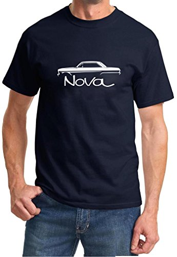1962-65 Chevy Nova Hardtop Classic Outline Design Tshirt XL navy blue (1962 Hardtop)