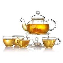 21 oz Heat Resistant Glass Teapot Set with tea pot Warmer and 4 pieces Tea Coffee Cup (Type #1 teapot set)