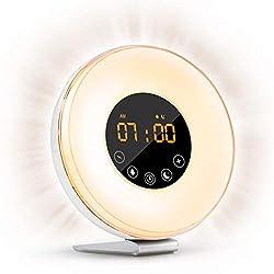 Sunrise Alarm Clock- Wake Up Light LED Clock Sunrise Simulation Sunset Fading Night Light-6 Natural Sounds/FM Radio/7 Colors Switch/10 Brightness Levels/Snooze Function Heavy Sleepers