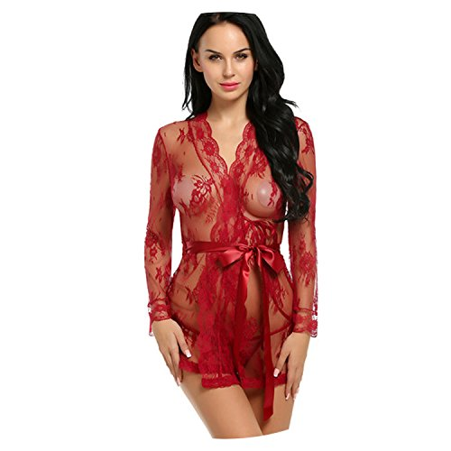 Summer-lavender Women Sexy Lingerie Erotic Kimono Bathrobe Nightwear,Dark Red,L,China