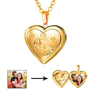Amazon u7 aquarius zodiac sign necklace 18k gold plated heart image unavailable aloadofball Image collections