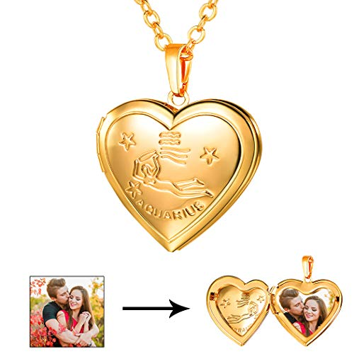 Aquarius Charm Gold Plated - U7 Aquarius Zodiac Sign Necklace 18K Gold Plated Heart Photo Locket Pendant, Chain 22