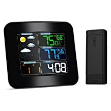 iLifeSmart Forecast Weather Station Alarm Clock with Indoor / Outdoor Wireless Sensor, Temperature Humidity Monitor Thermometer, Time Date Display Function for Home/Kitchen/Office