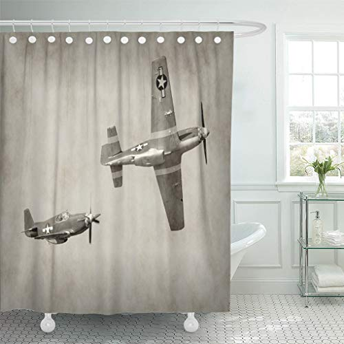 Semtomn Shower Curtain Waterproof Polyester Fabric 66 x 72 inches Ww2 World War Ii Fighter Airplanes in Flight Second Vintage Set with Hooks Decorative Bathroom Curtains - Shower Team Curtain Bathroom