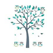 Owl Decals, Teal and Gray Owl Wall Stickers, Nursery Wall Art, Fabric Tree Decal