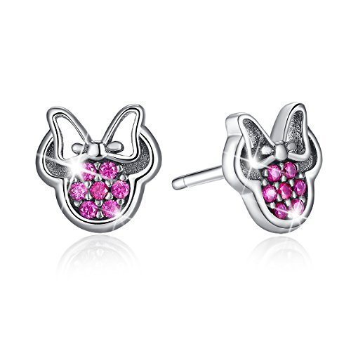 - BAMOER 925 Sterling Silver Dazzling Mouse Screw Back Studs Earrings for Teen girls