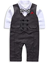 Baby Boy Suit, Toddler Short Sleeve Rompers Infant Outfit Onesie with Bow tie