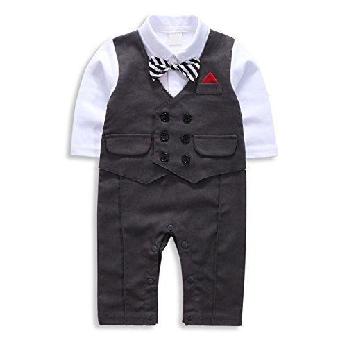 TNYKER Baby Boy Suit, Toddler Short Sleeve Rompers Infant Outfit Onesie with Bow tie (80(6-12 Month), Black-Long)