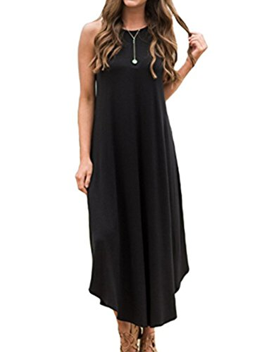 Halife Women's Casual Halter Neck Sundress Jersey Summer Long Beach Maxi Dress XXL,Black