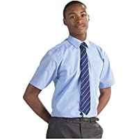 ex BHS Boys School Shirt (Twin-Pack) Short Sleeved Non Iron Easy Care Ages 4-16 Regular Fit/Generous Sturdy Plus Stocky Fit White
