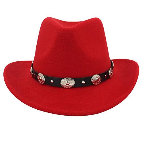Lisianthus Men & Women's Felt Wide Brim Western Cowboy Hat Red -