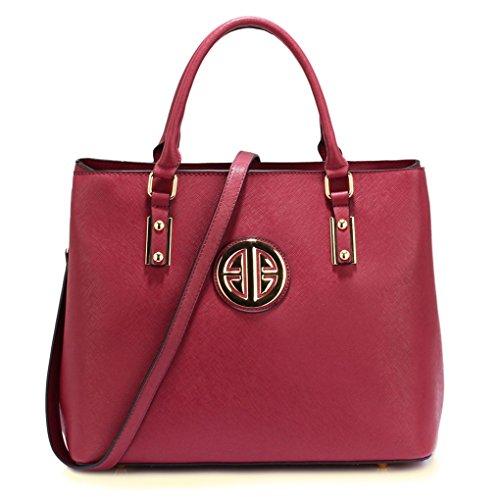 LeahWard? Ladies Women's Fashion Designer Celebrity Large Tote Bag Stunning Shoulder Handbag CWS00349 (CWS00472-Burgundy)