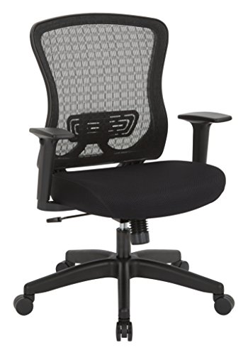 SPACE Seating Black Frame CHX Breathable Mesh Back and Padded Mesh Seat, 2-to-1 Synchro Tilt Control, Adjustable Arms Managers Chair, Black