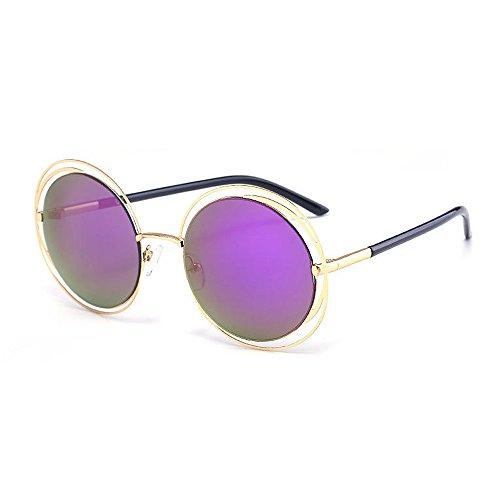 de Retro Conducción Protección Color Libre al UV metálico Púrpura Peggy Redondo Color Sol Lente de Gu Marco Gris Aire Viajar Gafas Marco Estilo Z60Eq0O