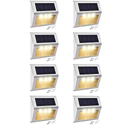 Garden and Outdoor Solar Step Lights with Larger Battery Capacity JACKYLED 8-Pack Stainless Steel 3 LED Solar Powered Deck Lights… outdoor lighting