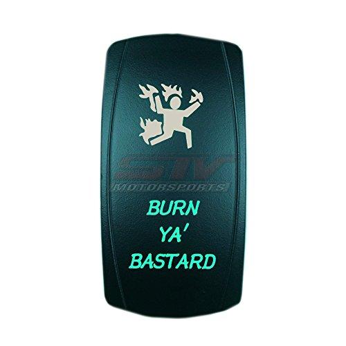 Green Laser Rocker Switch Backlit BURN YA' BASTARD 12V Bright Light Powersports [SLR1018BLPFBA] by Bright Light Powersports (Image #1)