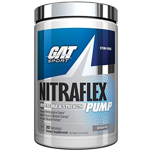GAT - NITRAFLEX Pump - Hyperemia & Strength, Intense Performance Gains, Mental Focus & Muscle Energy, Vascular Muscle Pumps (Unflavored, 20 Servings)