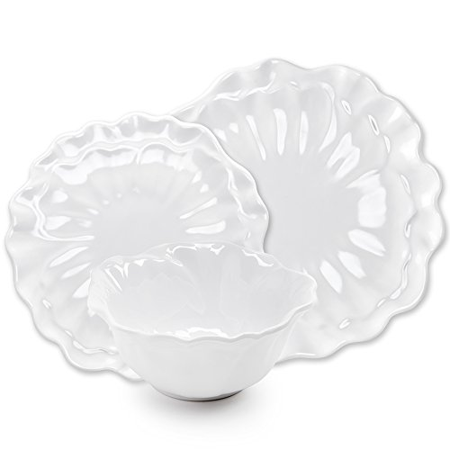 Q Squared Peony 12-Piece Professional Grade, BPA-Free, Shatterproof, Melamine Dinnerware Set, Many Collection Options