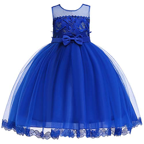 (Mysky Kids Baby Girl Popular Solid Color Floral Bowknot Sleeveless Prom Party Sweet Princess Dress Blue)