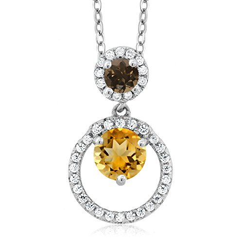 Gem Stone King 1.56 Ct Round Yellow Citrine Brown Smoky Quartz 925 Sterling Silver Pendant