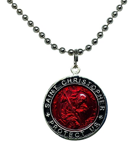 Baja Billys Ocean Creations St. Christopher Surfer Necklace, Large Pendant, Red with Black Rim, 23 Inches