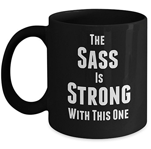 Vitazi Kitchenware Coffee Mugs with Quotes, 11 ounces - The Sass Is Strong With This One (Black) (Princess Leia Quotes)