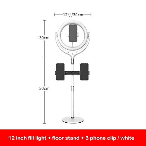 Color : B SUYIDAN Ring Light 12Inch LED Floor Ring Light Microphone Phone Holder Stepless Dimming Fill Light USB Power Supply Selfie Lamp Ringlight