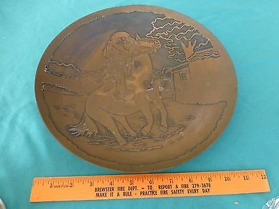 Vintage Decorative bowl either copper / brass man cowboy horse maybe paul Revere - Revere Copper Brass