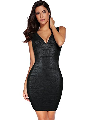 Meilun Women's Rayon Sexy V-Neck Bandage Bodycon Strap Green Foil Dress (X-Small, Black)