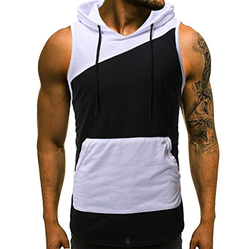 iHPH7 Tank Top Athletic Men Essential Tank Top Men Summer Casual Patchwork Print Hooded Sleeveless T-Shirt Top Vest Blouse S White ()