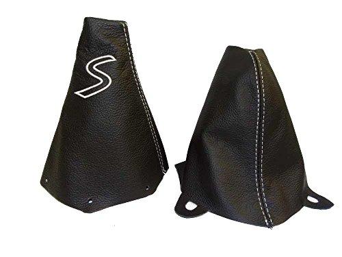 The Tuning-Shop Ltd For Mini Cooper R50 R53 S-One 2001-2006 Shift & E Brake Boot Black Leather White S Embroidery Edition