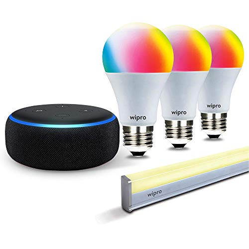 Smart lighting bundle: 1 Echo Dot (Black) + 3 Wipro 9W color bulb (screw type socket) + 1 Wipro smart batten/tubelight